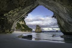 View from the cave at cathedral cove,coromandel,new zealand 17. View from the cave at cathedral cove beach,coromandel,new zealand Royalty Free Stock Images