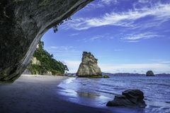 View from the cave at cathedral cove,coromandel,new zealand 44. View from the cave at cathedral cove beach,coromandel,new zealand Royalty Free Stock Image