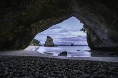 View from the cave at cathedral cove,coromandel,new zealand 1. View from the cave at cathedral cove beach,coromandel,new zealand Stock Image
