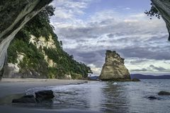 View from the cave at cathedral cove,coromandel,new zealand 27. View from the cave at cathedral cove beach,coromandel,new zealand Stock Photos