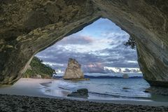 View from the cave at cathedral cove,coromandel,new zealand 6. View from the cave at cathedral cove beach,coromandel,new zealand Stock Photos