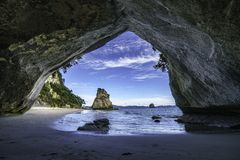 View from the cave at cathedral cove,coromandel,new zealand 45. View from the cave at cathedral cove beach,coromandel,new zealand Stock Photo