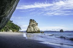 View from the cave at cathedral cove,coromandel,new zealand 36. View from the cave at cathedral cove beach,coromandel,new zealand Royalty Free Stock Images