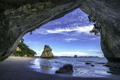 View from the cave at cathedral cove,coromandel,new zealand 42. View from the cave at cathedral cove beach,coromandel,new zealand Royalty Free Stock Images