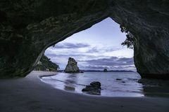 View from the cave at cathedral cove,coromandel,new zealand 2. View from the cave at cathedral cove beach,coromandel,new zealand Stock Image