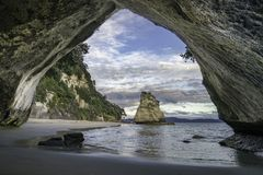 View from the cave at cathedral cove,coromandel,new zealand 29. View from the cave at cathedral cove beach,coromandel,new zealand Stock Photos
