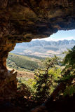 View from cave at farmlands Stock Photos