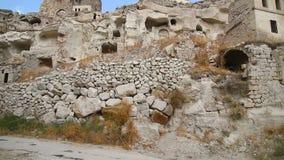 View of cave houses in Ortahisar. Cappadocia. Turkey stock video