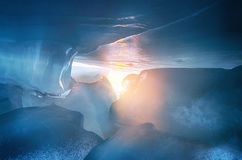 The view from the cave with icicles, shards of ice and incrustations. royalty free stock photos