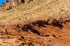 Cave of local nomads by Dades in Morocco. View on Cave of local nomads by Dades in Morocco Royalty Free Stock Photo