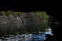 View from the cave of marble quarry Stock Photos