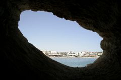 View from a cave on the sea Royalty Free Stock Images