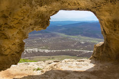 View from cave window Royalty Free Stock Photography