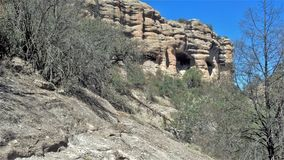 Gila Cliff Dwellings National Monument. A view of the caves in the Gila Wilderness the contain the cliff dwellings that were built over 700 years ago by the Royalty Free Stock Photos