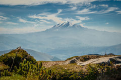 The view of Cayambe volcano in Ecuador. The foggy view of Cayambe volcano in Ecuador royalty free stock image