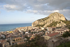 View of the Cefalù with sea and mountain. Sicily Stock Images