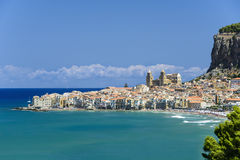 View of Cefalu with beach and castle Royalty Free Stock Photos