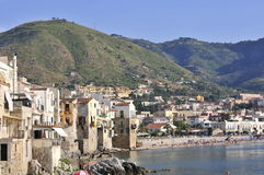 View on cefalu town and beach Royalty Free Stock Image