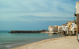 View of the Cefalus beach. Sicily Royalty Free Stock Images