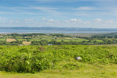 View from Cefn Bryn hill of The Gower peninsula Wales Stock Photos