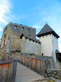 View of Celje Upper Castle and the Old Bridge Royalty Free Stock Photography