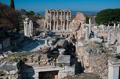 View of Celsus Library at Ephesus from an eminence Royalty Free Stock Photography