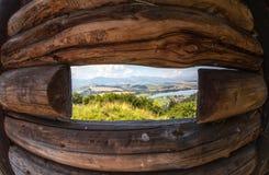 View from celtic watchtower at Havranok - Slovakia. View from celtic watchtower at open-air museum Havranok - Slovakia stock images