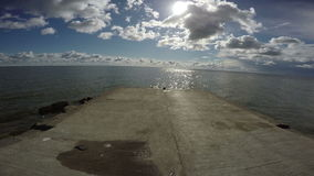 View from cement pier in Curonian Lagoon, 4K stock footage