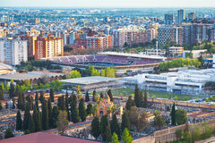 View on  cemetery and stadium in Barcelona Stock Photos