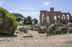 View of the center of the ancient Greek city of selinunte Royalty Free Stock Photo