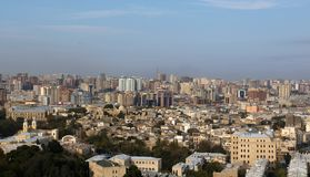 View on center of Baku and old city Royalty Free Stock Photos