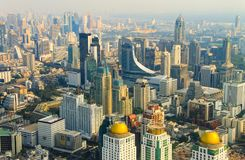 View of the center of Bangkok, the capital of Thailand. From a height, Asia Royalty Free Stock Photo