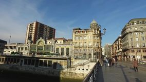 View of the center of the city of Bilbao from the bridge on the river Nervion. Spain. View of the center of the city of Bilbao from the bridge on the river stock video