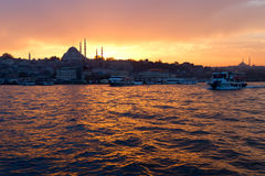 View of center of  Istanbul by night. Stock Photo