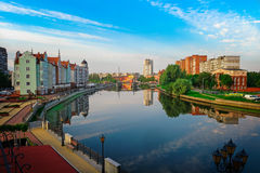 View center of Kaliningrad and Pregolya River Royalty Free Stock Photography