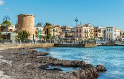 View of center of Mondello, is a small seaside resort near center of city Palermo. Royalty Free Stock Image