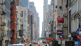View of the center of New York city from back of top deck on open roofed tour bus. Royalty Free Stock Image