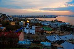 View of center Nizhny Novgorod at sunset Stock Image