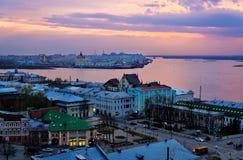 View of center Nizhny Novgorod at sunset Stock Photography