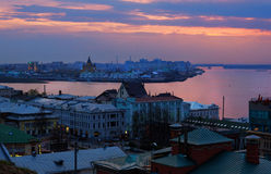 View of center Nizhny Novgorod at sunset Royalty Free Stock Images