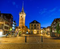 Obernai town, at night, Bas-Rhin Alsace France. View of  center of Obernai, at night, Bas-Rhin Alsace France Royalty Free Stock Photo