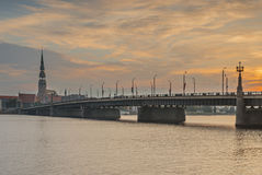 View on the center of old Riga city and stone bridge Royalty Free Stock Images