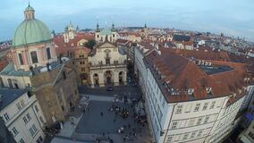 View of the center of Prague. From the Powder Tower Prague stock video footage