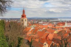 A view of the center of Ptuj city, church and old town of Ptuj. Slovenia stock images