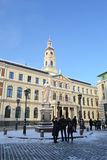 View of center of Riga at winter. Royalty Free Stock Image