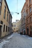 View of center of Riga at winter. Royalty Free Stock Photography