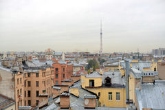 View of the center of St. Petersburg from the roof. Stock Images