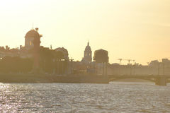 View of center of St.Petersburg at sunset. Royalty Free Stock Images