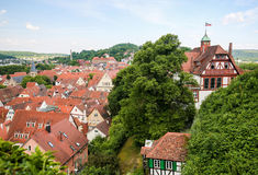 View on the center of Tubingen, Baden-Wurttemberg, Germany. View from the Castle on the Altstadt or historical center of Tubingen, Baden Wurttemberg, Germany royalty free stock photo