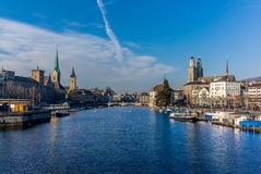 View of the center of Zurich and the Limmat river - 1 Royalty Free Stock Photo